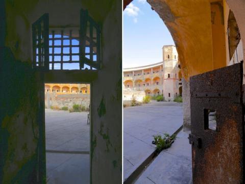 2 vistas desde el interior de las celdas de la prisión.