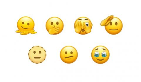 Above: Melting Face (top-left), Saluting Face (top-right) and Face Holding Back Tears (bottom-right) are among the emojis likely to be approved in September 2021. Image: Emojipedia Sample Image Collection