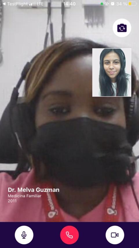 Captura de pantalla del servicio de consulta por videollamada de asistensi.