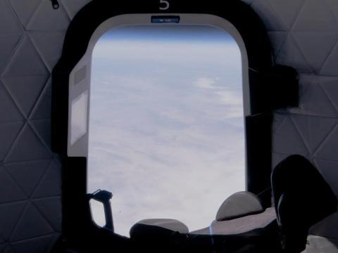 La vista desde el espacio en el vuelo número 15 de New Shepard el 14 de abril.