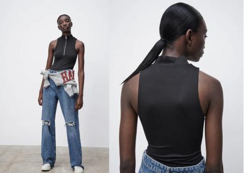 Body sin mangas tipo polo de oferta en Zara.