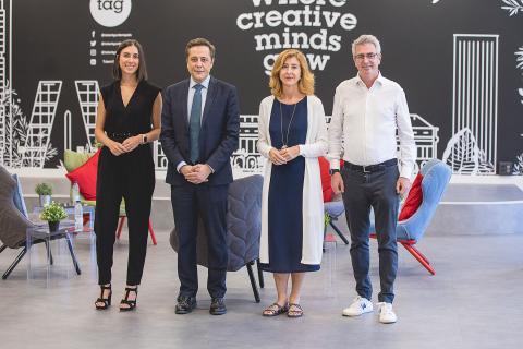 Los protagonistas del primer Business Insider Meeting posan para la cámara: Blanca de Santos (Clarify), José Bayón (Enisa), Laura Urquizu (Red Points) y Aquilino Peña (Kibo Ventures).