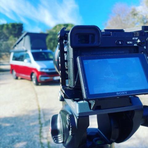 Momento de la grabación del análisis de la furgoneta California T5 de Volkswagen.