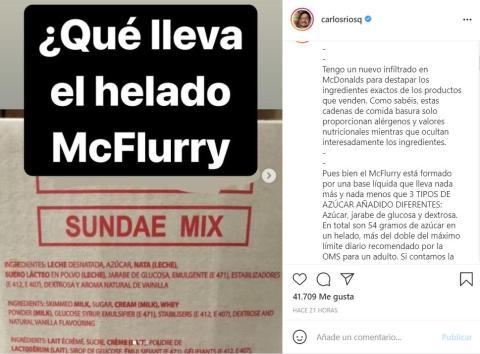 Captura de la publicación de Carlos Ríos sobre la composición y elaboración de los McFlurry de McDonald's.