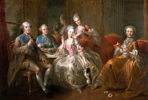 El cuadro del Duque de Penthièvre y su familia, pintado por Jean-Baptiste Charpentier.