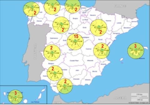 ¿Dónde se encuentran los 39 drones de la DGT?