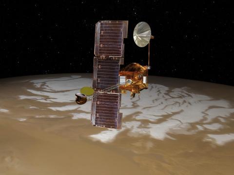 La nave espacial Mars Odyssey de la NASA pasa por encima del polo sur de Marte en esta representación gráfica.
