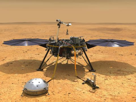 Esta ilustración muestra la nave espacial InSight de la NASA con sus instrumentos desplegados en la superficie marciana.