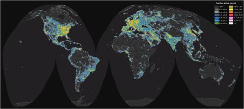 Mapa de la contaminación lumínica mundial.