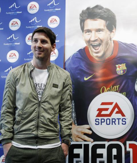 El futbolista Leo Messi, durante la presentación del videojuego FIFA 12.