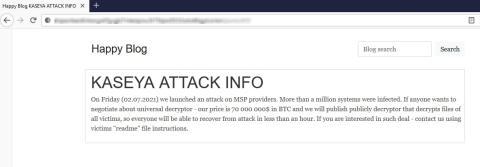 Nota de rescate de REvil en el ataque a Kayesa.