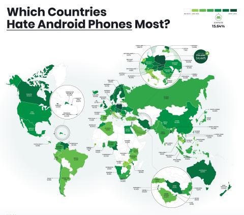 Odio a Android por países