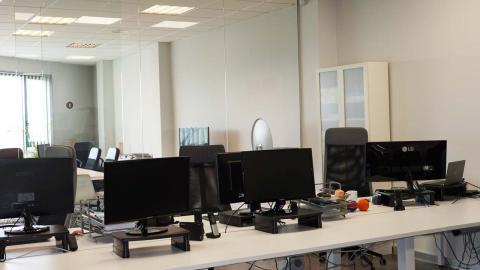 Oficinas de Tarlogic vacías por el teletrabajo.