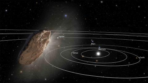 Una ilustración de Oumuamua volando a través del Sistema Solar en 2017.