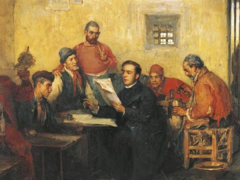 Una pintura de Vincenzo Montefusco muestra a Luigi Settembrini, un político, que estuvo confinado en la prisión de Santo Stefano.