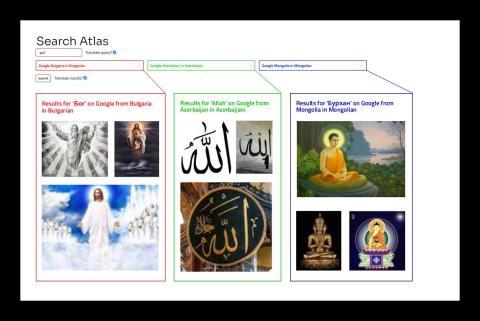 'Search Atlas' muestra diferentes resultados de una misma búsqueda. Arriba se ven las diferencias al buscar imágenes de Dios en distintas regiones.