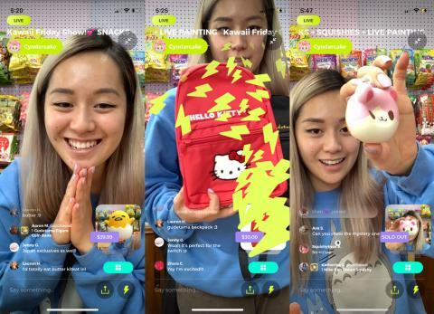 Capturas de pantalla del programa de Vivian Nguyen en Popshop Live.