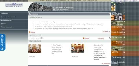 Web del Parlamento de Andalucía.