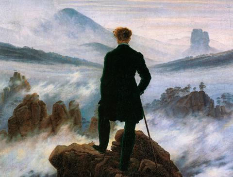 'El caminante sobre un mar de nubes' de Caspar David Friedrich.
