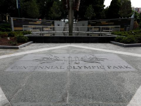 Señalización del Centennial Olympic Park en Atlanta, Georgia, el 28 de julio de 2019.