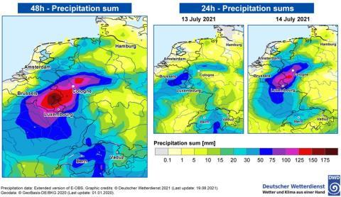 Izquierda: precipitación acumulada durante 2 días. Derecha: precipitación acumulada durante 24 horas para cada uno de los días individuales del evento de precipitación extrema.