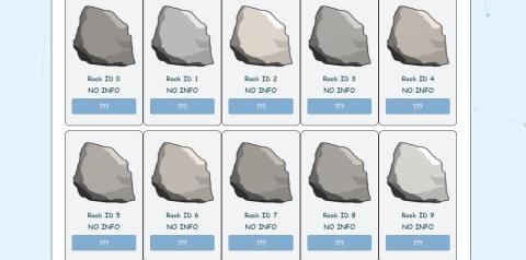 Un muestrario de rocas ya usadas que se han puesto a la venta.