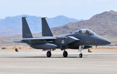 Un F-15 de la Fuerza Aérea de Corea del Sur aterriza en la base aérea de Nellis, Estados Unidos, en 2008.