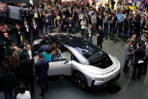 El coche eléctrico FF 91 atrajo una gran atención en la feria CES de 2017