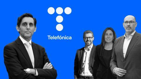 José María Álvarez-Pallete (Presidente ejecutivo), Sergio Oslé (Consejero Delegado Telefónica España), María Jesús Almazor (CEO Telefónica Tech) y Emilio Gayo (CEO Telefónica España)