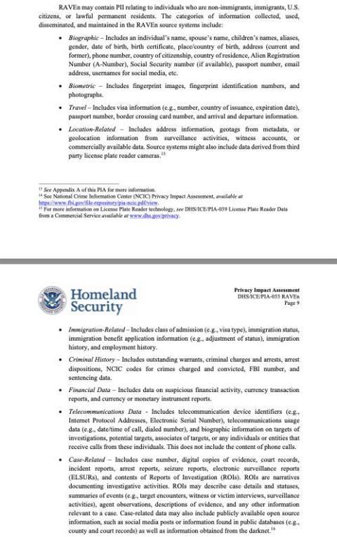Parte de una evaluación de privacidad del gobierno del programa RAVEn.
