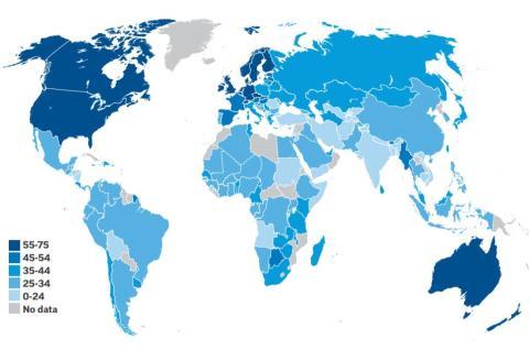 Mapa de colores con la alfabetización financiera en el mundo en base a su porcentaje. S&P GLOBAL FINLIT SURVEY.