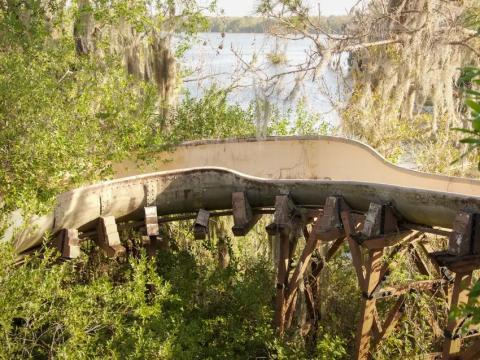 El tobogán de agua en River Country ahora está cubierto de maleza.