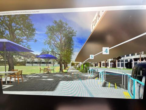 Un simulación de una estación de Glydways. Candy Cheng/Business Insider