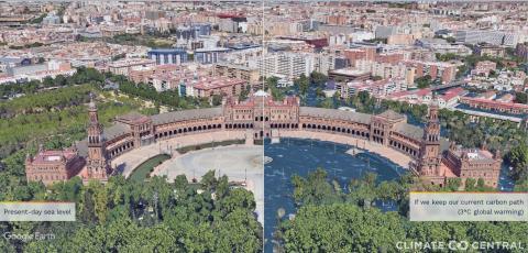 Representación de la Plaza de España de Sevilla si se mantuvieran el actual nivel de emisiones.