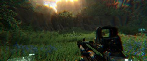 La 'aberración cromática' activada en 'Crysis'.