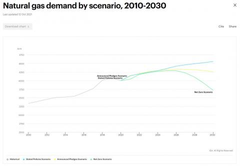 Demanda de gas natural según el IEA World Energy Outlook 2021