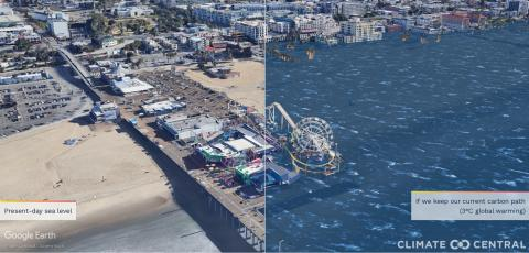Representación del muelle de Santa Mónica si la temperatura ascendiera en 3º.