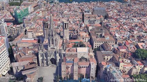 Representación de la subida del nivel del mar en la Catedral de Barcelona.