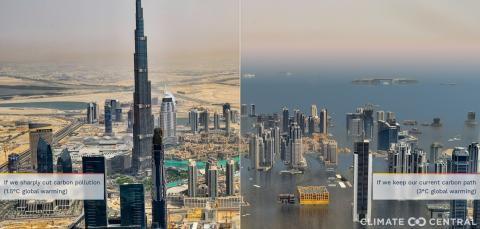 Representación de Dubái si aumentara el nivel del mar con el edificio Burj Khalifa a la izquierda de la imagen.