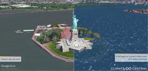 Representación Estatua de la Libertad con aumento del nivel del mar.