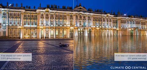Representación del museo Hermitage con la subida del nivel del mar.