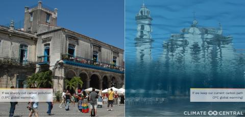 Representación de hasta dónde llegaría el nivel del mar en la La Habana, Cuba.