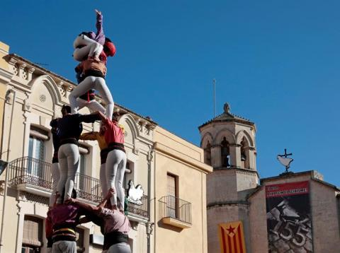 Castellers reivindicativos en Vilafranca del Penedés