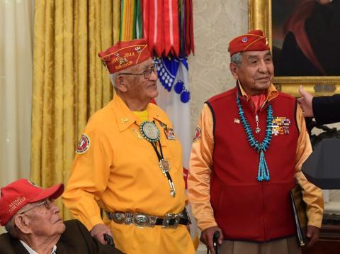 Donald Trump, en la recepción a los locutores de código navajo en la que levantó polémica al hablar de Pocahontas
