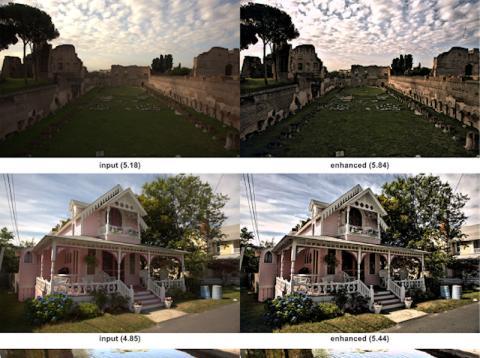 Comparación de la foto de una casa procesada con IA