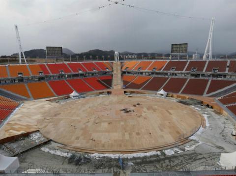 Estadio en obras para los Juegos Olímpicos de Corea del Sur en 2018