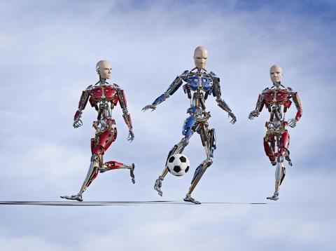Robots jugando al futbol
