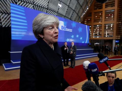 Theresa May en una cumbre de la Unión Europea