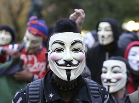 Una manifestación con máscaras de Guy Fawkes