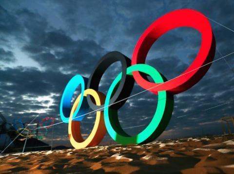 juegos olímpicos, anillos en copacabana